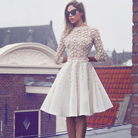 vestido de festa curto White Cocktail Dresses 3D Flowers Knee Length Party Dresses With Sleeves robe cocktail 2017 Cheap