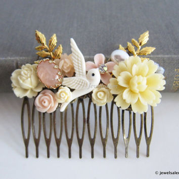 Bridal Hair Comb Ivory Pink Wedding Hair Accessories Blush Gold Bride Hair Adornment Romantic Floral Hair Pin Bridesmaid Gift