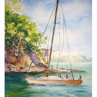 Smooth Sailing, sailboat peinture, original watercolor painting id1360060 seascape, nautical wall art, not a print, landscape, sail boat