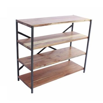 Industrial Design 4 Shelves Wood And Iron Bookshelf, Brown And Black By The Urban Port