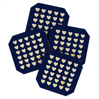 Leah Flores Gold Heart Coaster Set