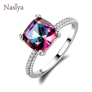 Hot Sale Silver 925 jewelry Rings for Women Chamfer Square 8*8MM Amethyst ring Anniversary Jewelry Valentines day gift