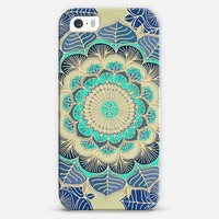 Midnight Bloom - navy blue, mint green & gold doodle iPhone 5s case by Micklyn Le Feuvre | Casetify