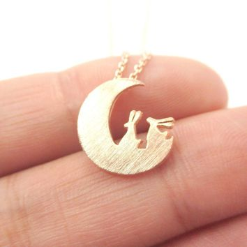 Bunny Rabbit on the Moon Silhouette Shaped Pendant Necklace in Rose Gold | Animal Jewelry