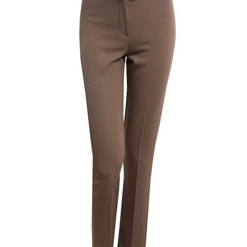 Womens Straight Leg Dress Pants with Faux Leather belt