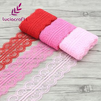 Lucia crafts 47mm Multi colors options Embroidered Net Lace Trim Ribbon Yarns Craft Accessories 2y/lot 050025052