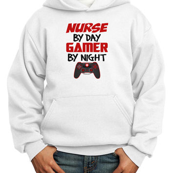 Nurse By Day Gamer By Night Youth Hoodie Pullover Sweatshirt