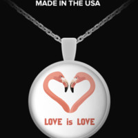 Pink Flamingo LOVE IS LOVE - Necklace flamingolove-necklace