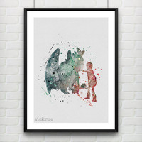 Hiccup and Night Fury - Toothless, How to Train Your Dragon Watercolor Art Print, Kids Decor, Gift, Not Framed, Buy 2 Get 1 Free! [No. 110]
