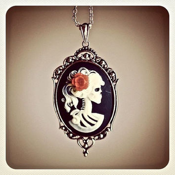Miss Skeleton Gothic necklace - IVORY BLACK Lolita Zombie 25x18mm Cameo - Red resin flower