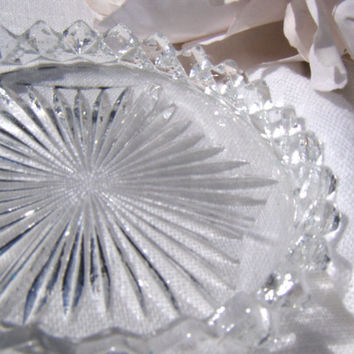 Vintage English Crystal Coasters Cut Glass Coaster Set