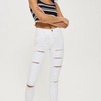 MOTO White Super Ripped Leigh Jeans - Ripped Jeans - Jeans