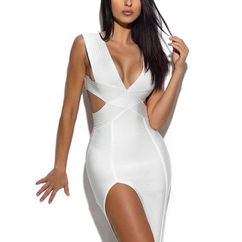 Cut Out Detail White Bandage Dress