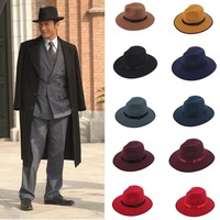 Men's Jazz Wide Brim Hat Gangster Cap