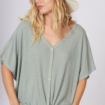 Sage Button Down Front Tie Top