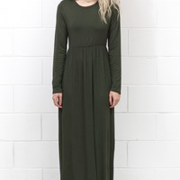 Long Sleeve Solid Maxi Dress w/ Pockets {Olive}