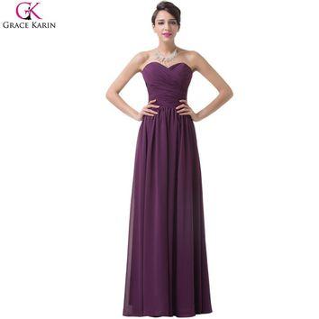 Grace Karin Purple Grape Bridesmaids Dresses Sweetheart Long Chiffon Bridesmaid Dresses Under 50 Prom Dress 2017 Formal Dresses