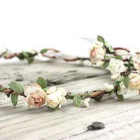Ivory Flower Crown Set, Wedding Hair Accessories, Crown, Blush, Bridal, Flower Bracelet, Boho, Floral Crown, Hair Wreath, Wedding Headpiece