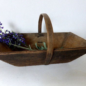 Vintage French Wooden Trug / Basket Home Decor