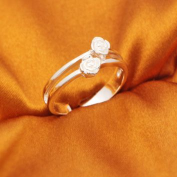 Personalized rose 925 sterling silver opening ring,a perfect gift!