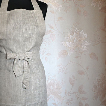 Organic Full Apron Natural Linen Light Grey With One Big Pocket