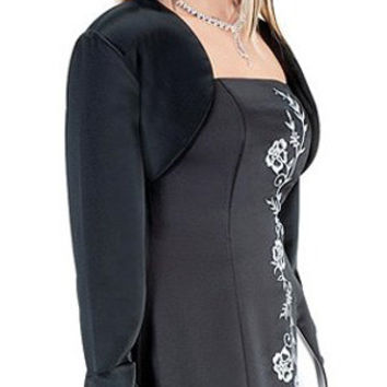 CLEARANCE - Poly Satin Black Long Sleeve Bolero Jacket Wedding/Bridal (Size Large)