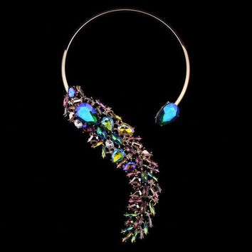 VONE7HQ OPAL FERRIE - 2017 Crystal Vintage Gold Plated Choker Necklace