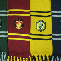 2m length Harry Potter Hogwarts Houses inspired scarf with emblem
