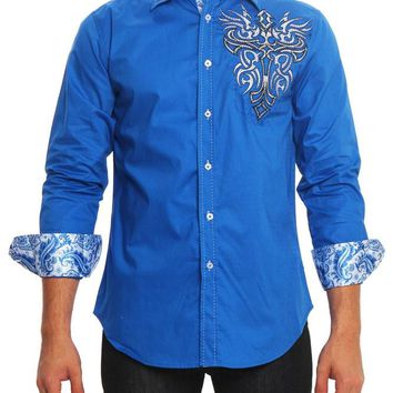Tribal Cross Tattoo Button Up Shirt SH436