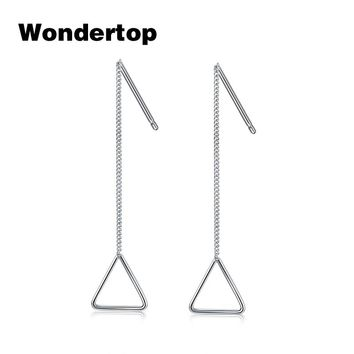 WONDERTOP Authentic Sterling 925 Silver Triangle Dangling Drop Earrings for Women Party Engagement Wedding Fashion Jewelry