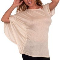 Relaxed Loose-fitting Draped Dolman Sleeve Stretch Casual Party Blouse Tunic Top