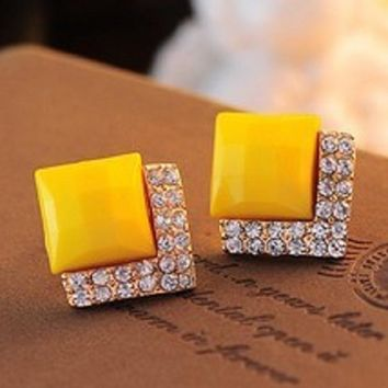 Crystal Gem Square Stud Earrings