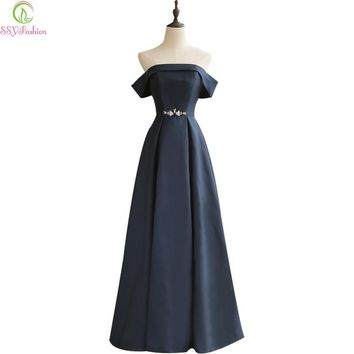 Fashion Simple Elegant Dark Blue Thick Satin Long Evening Dress Bride Floor-length Formal Party Gown