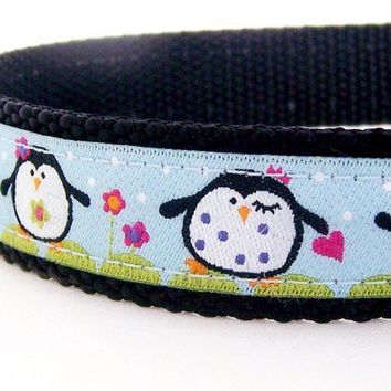 Sale Happy Penguins Dog Collar on Blue by daydogdesigns on Etsy