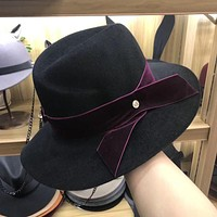 Women Temperament Fashion Retro M Letter Top Hat Wool Large Brimmed Hat Jazz Cap
