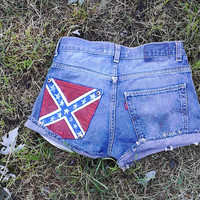 Denim shorts with hand painted rebel flag and studs on pocket