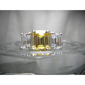 A 4.5TCW Emerald Cut Russian Lab Diamond Journey Ring