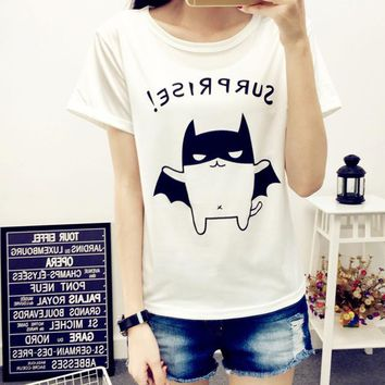 Tops and Tees T-Shirt 2018 Summer Women T-Shirt Style Lovely Bat Printed Short Sleeve Top tee White O-Neck casual  Plus Size Women Clothing AT_60_4 AT_60_4