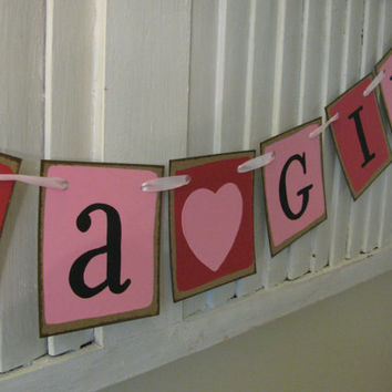 Baby Girl Shower Pink It's a Girl Banner Primitive Folk Art Bunting Garland