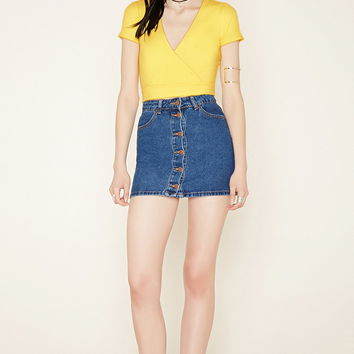 Ribbed Surplice Crop Top