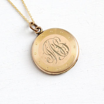 Antique  Monogrammed Locket Necklace - Gold Filled Early 1900s Edwardian Art Deco Initialed MS Jewelry Hallmarked W&H Co.