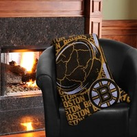 Boston Bruins Double Play Woven Blanket - Black/Gold