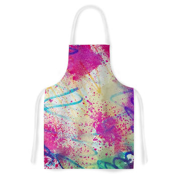 "Liz Perez ""RAINBOW"" Purple Multicolor Artistic Apron"