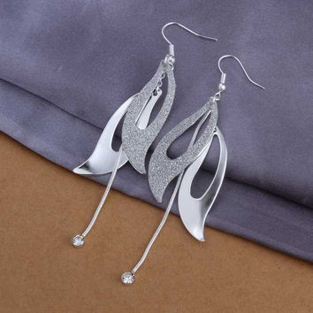 silver plated earring Solid Two Piece drop pendientes men jewelry MP