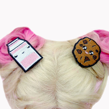 Milk And Cookie Hair Clip Set