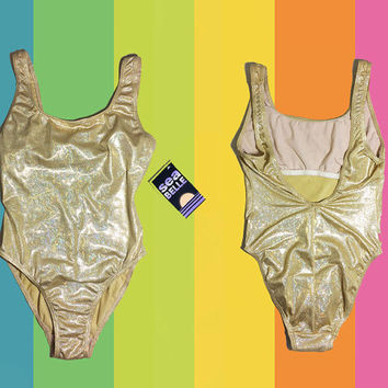 FLASH FALL SALE Vintage 1970s Gold Dust Woman Disco Glam Dead Stock High Waisted Holographic Unworn Body Suit Swim Suit One Piece Aerobic Su