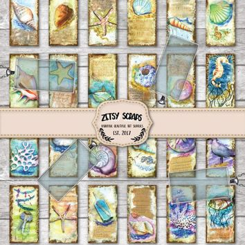 Vintage Sealife collection. 1x2 inch  PHOTO CHARMS.Digital Collage Sheet for glass or resin domino pendants ,magnets, bezel tray settings,