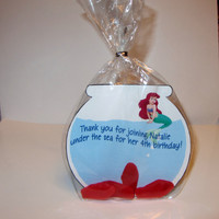 KIDS BIRTHDAY FAVOR-Disney Ariel,Swedish Fish,party favor,fish bowl, Bags and ties included