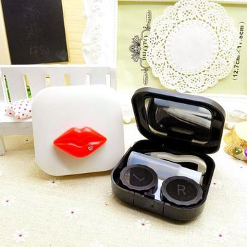 LIUSVENTINA DIY resin cute lips contact lens case for eyes contact lenses box for glasses spectacle case