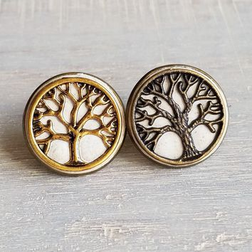 Concrete tree of life tie tack / lapel pin